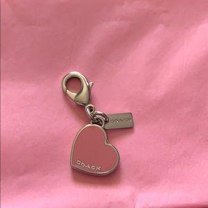 Coach pink heart clip charm